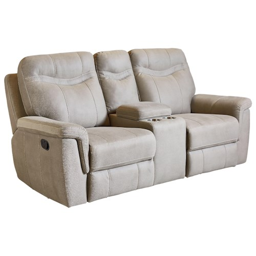Standard Furniture Boardwalk Contemporary Stone Colored Reclining Console Loveseat