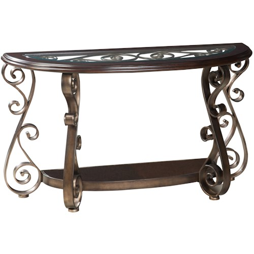 Standard Furniture Bombay Old World Sofa Table with Glass Top and S-Scroll Legs