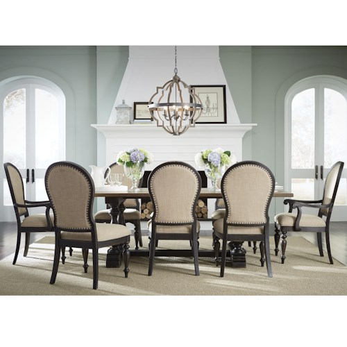 Standard Furniture Cambria Trestle Table and Upholstered Chair Dining Set