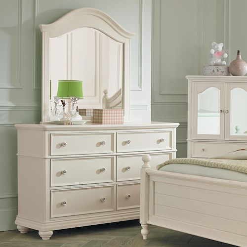 Standard Furniture Camellia Marshmallow Cottage Dresser and Mirror Combination