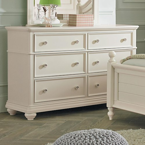 Standard Furniture Camellia Marshmallow Cottage Dresser with Six Drawers