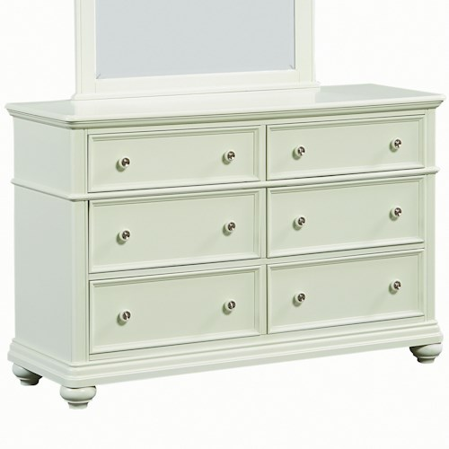 Standard Furniture Camellia Mint Cottage Dresser with Six Drawers