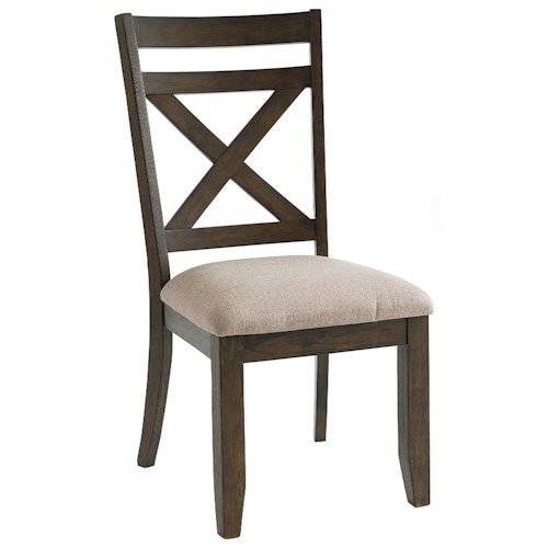 Standard Furniture Carter X-Back Side Chair with Upholstered Seat