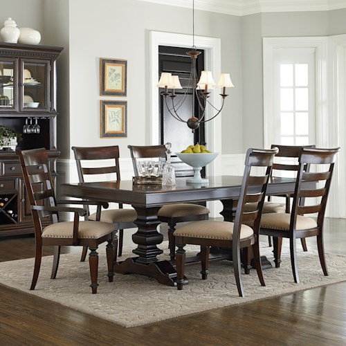 Standard Furniture Charleston Traditional Seven Piece Trestle Table and Chair Set