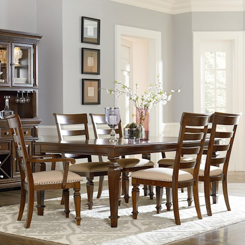 Standard Furniture Charleston Traditional Seven Piece Leg Table and Chair Set