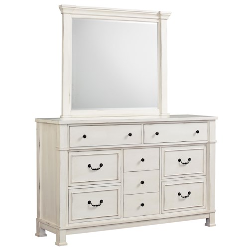 Standard Furniture Chesapeake Bay Vintage White Dresser and Mirror Set