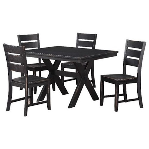 Standard Furniture Costa Table and Chair Set with Distressed Black Finish