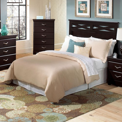 Standard Furniture Crossroads  Full/Queen Panel Headboard with Decorative Crossed Slats