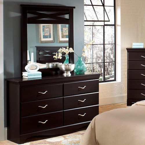 Standard Furniture Crossroads  Six Drawer Dresser & Panel Mirror Combination