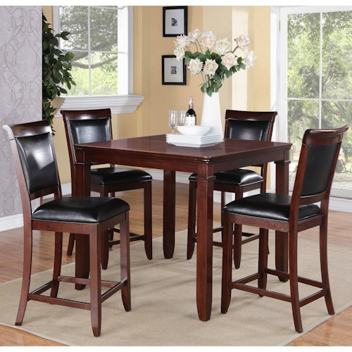 Standard Furniture Dallas  5 Piece Counter Height Table and Upholstered Chairs Set
