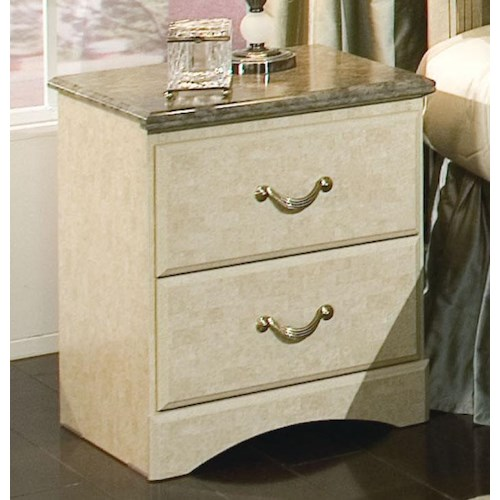 Standard Furniture Florence 5950 Two Drawer Nightstand with Faux Stone Top