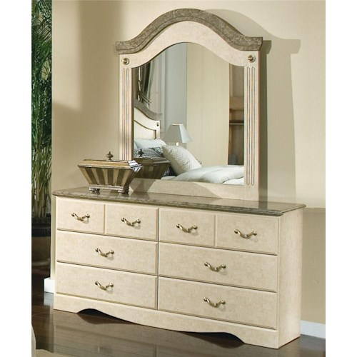 Standard Furniture Florence 5950 Six Drawer Dresser and Mirror Combination with Faux Stone and Metal Accents