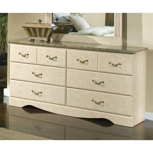 Standard Furniture Florence 5950 Six Drawer Dresser with Faux Marble Top