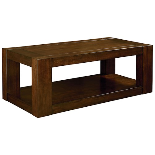 Standard Furniture Franklin Casual Contemporary Cocktail Table with Heavy Square Block Legs