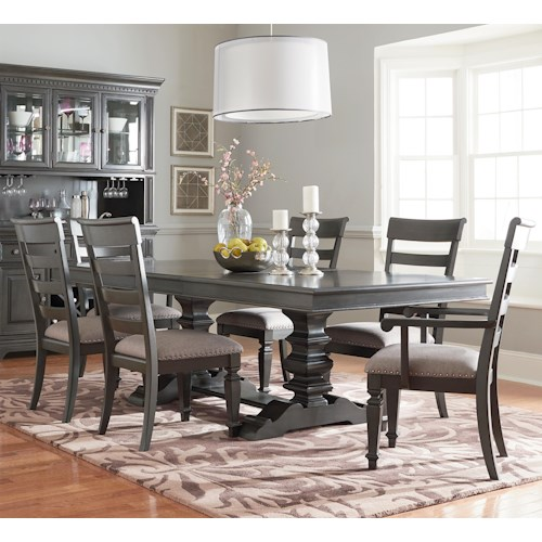 Standard Furniture Garrison Dining Room Trestle Table Dining Set with Seven Chairs