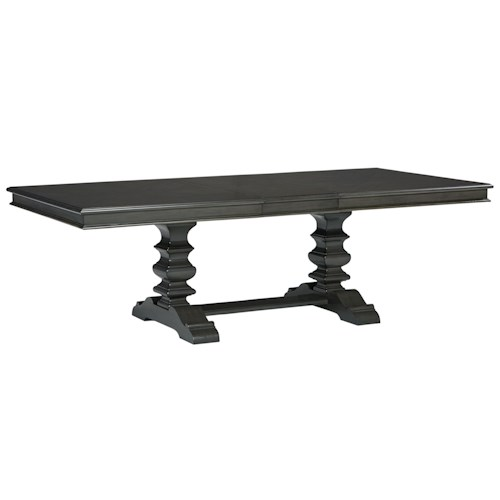Standard Furniture Garrison Dining Room Trestle Dining Table with Smooth Grey Finish
