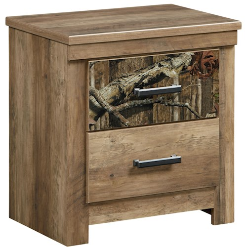 Standard Furniture Habitat 2 Drawer Nightstand with Cast Metal Bar Pulls