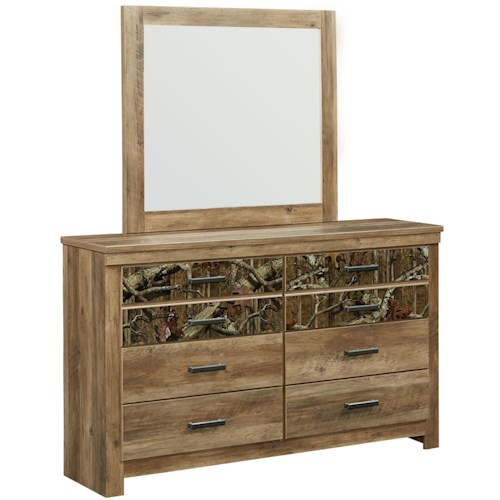 Standard Furniture Habitat 6 Drawer Dresser and Mirror Set