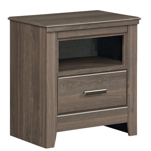 Standard Furniture Hayward One-Drawer Nightstand with Open Shelf