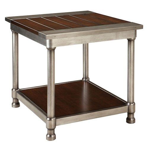 Standard Furniture Hudson Contemporary Single Shelf End Table with Plank-Style Wood Top and Metal Cylindrical Legs