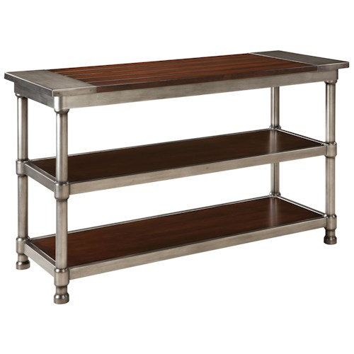 Standard Furniture Hudson Contemporary 2 Shelf Console Table with Plank-Style Wood Top and Cylindrical Metal Legs