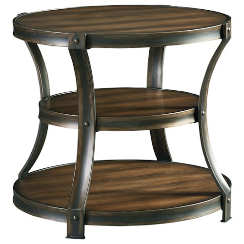 Standard Furniture Huntington Round End Table with Curved Metal Legs