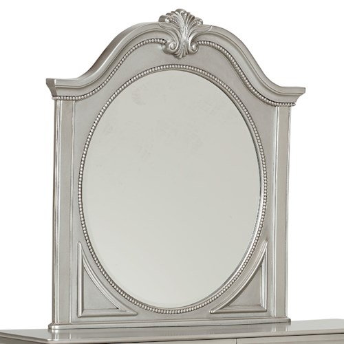 Standard Furniture Jessica Silver Decorative Oval Shaped Mirror