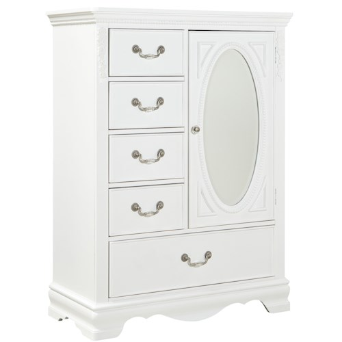 Standard Furniture Jessica Wardrobe Chest with Oval Glass Mirror
