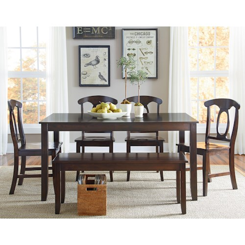 Standard Furniture Larkin 6 Piece Dining Table Set with Open Oval Splat Back Chairs and Dining Bench