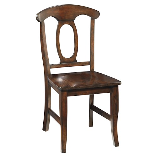 Vendor 855 Larkin Dining Side Chair with Open Oval Splat Back and Stretcher Support