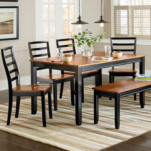 Standard Furniture Lexford Six Piece Cherry/Black Two Tone Dining Set