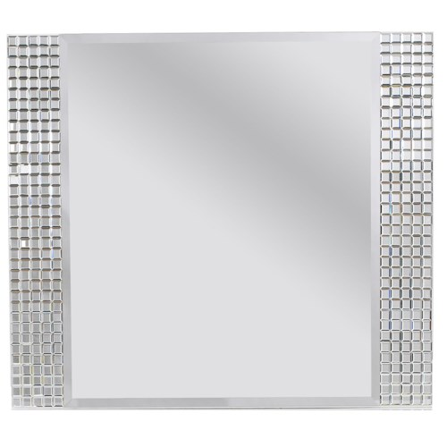 Standard Furniture Marilyn Youth White Panel Mirror with Beveled Mirror Panel Accents