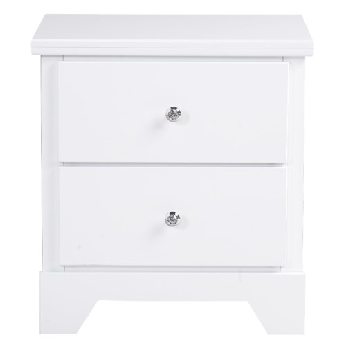 Standard Furniture Marilyn Youth 2 Drawer Glossy Nighstand with Sparkly Cast Metal Knobs