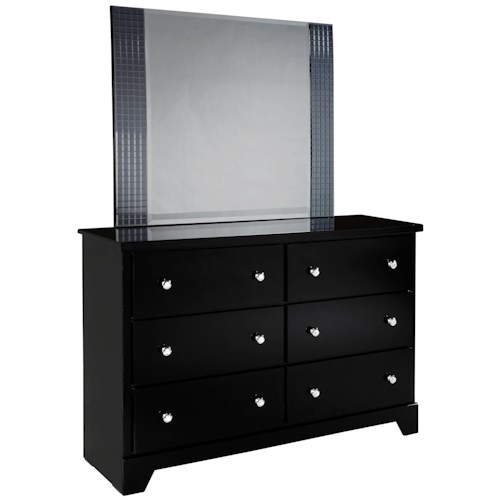 Standard Furniture Marilyn Youth Landscape Mirror and 6 Dresser Combo