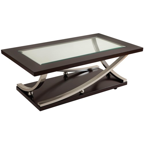 Standard Furniture Melrose Rectangular Glass Top Table with Convenient Casters