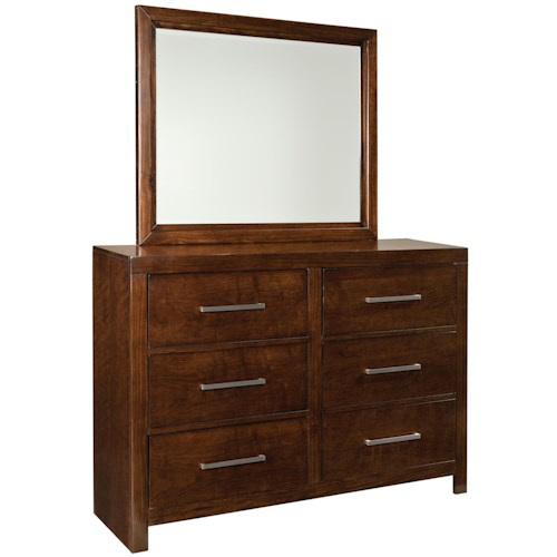 Vendor 855 Metro 8 Drawer Dresser & Landscape Beveled Mirror Set