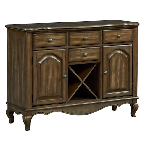 Standard Furniture Monterey Sideboard with Four Drawers, Two Doors and Wine Storage