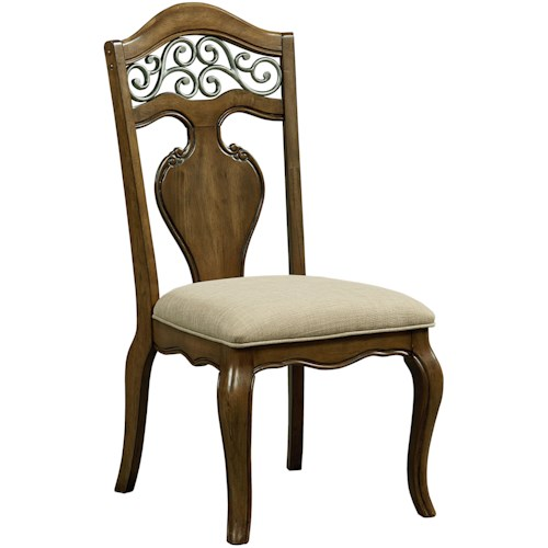 Standard Furniture Monterey Side Chair with Upholstered Seat