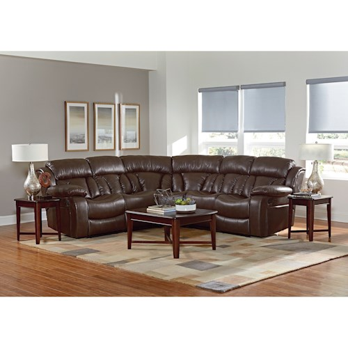 Standard Furniture North Shore Reclining Sectional Sofa with Pillow Arms