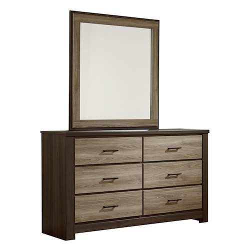 Standard Furniture Oakland Contemporary Dresser and Mirror Set