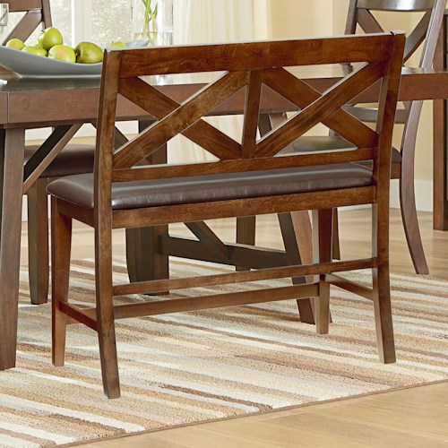 Standard Furniture Omaha Brown Dining Bench with Upholstered Seat and X-Back