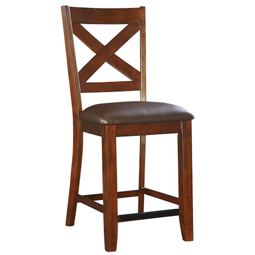 Standard Furniture Omaha Brown Counter Height Bar Stool with Upholstered Seat and X-Back