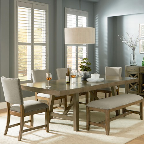 Standard Furniture Omaha Grey 6 Piece Trestle Table Dining Set with Dining Bench
