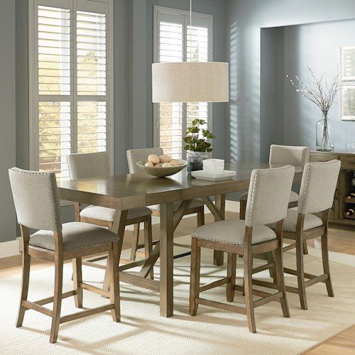 Standard Furniture Omaha Grey Counter Height 7 Piece Trestle Table Dining Set