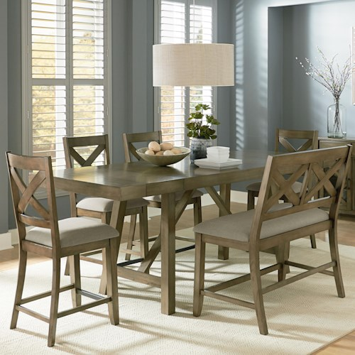 Standard Furniture Omaha Grey Counter Height 7-Piece Dining Room Table Set