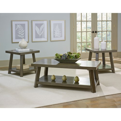 Standard Furniture Omaha Grey Rustic Occasional Table Group