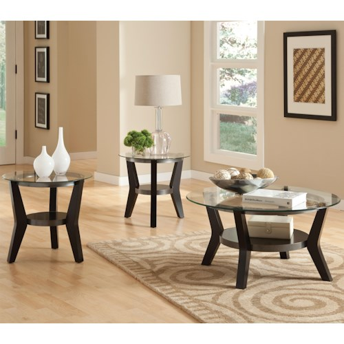 Standard Furniture Orbit 3-Pack Round Occasional Tables with Glass Tops