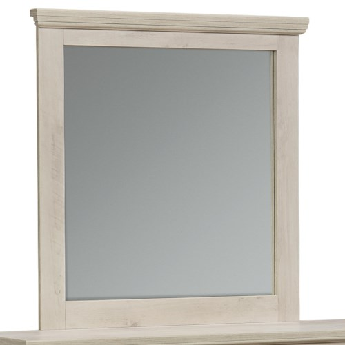 Standard Furniture Outland Lite Panel Dresser Mirror with Crown Molding
