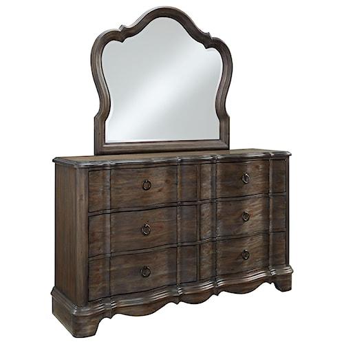 Standard Furniture Parliament Dresser and Mirror Set with Serpentine Case Front