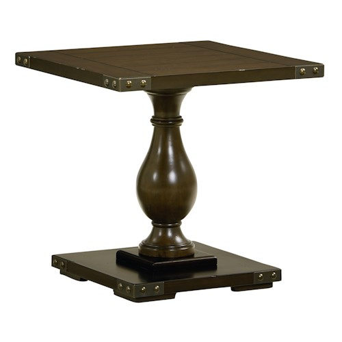 Standard Furniture Pierwood End Table with Pillar Stand
